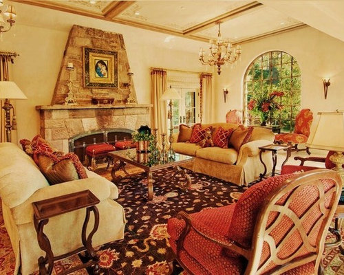 Mediterranean living room with red sofa home design ideas for Mediterranean living room