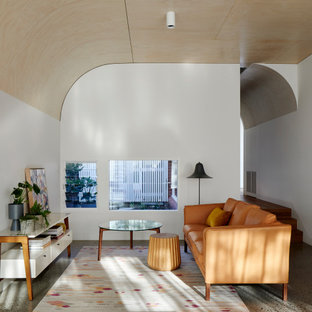 Design ideas for a large contemporary formal open concept living room in Melbourne with white walls and beige floor.