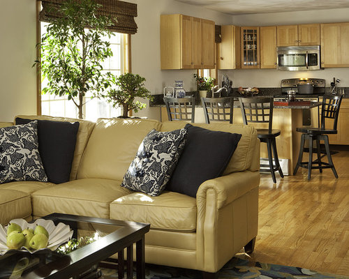 Yellow leather sofa houzz for Living room ideas mustard