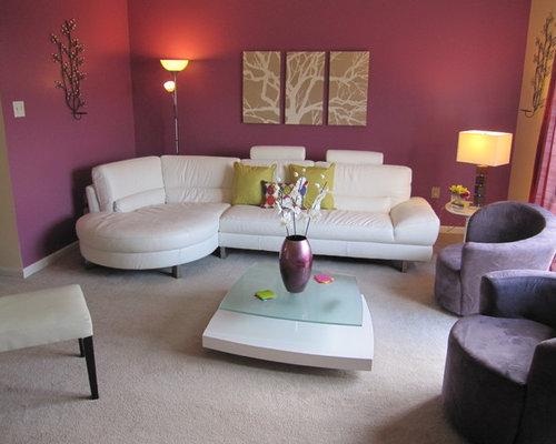 Red Mauve Living Room Design Ideas Renovations Photos