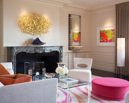 Trendy Living Room Photo In San Francisco With A Standard Fireplace
