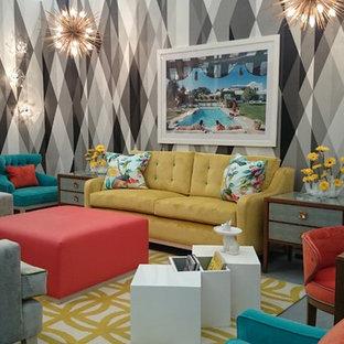 Идея дизайна: маленькая гостиная комната в современном стиле