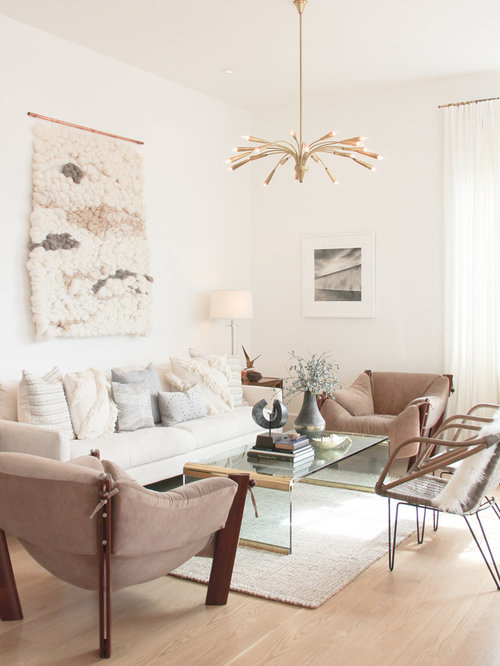 Beautiful Inspiration For A Scandinavian Light Wood Floor Living Room Remodel In San  Francisco With White Walls Part 21