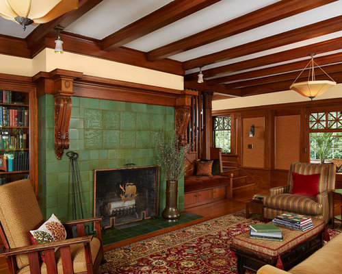 Craftsman Formal Enclosed Living Room Idea In Minneapolis With Beige Walls,  Medium Tone Hardwood Floors