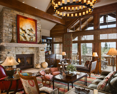 Example Of A Classic Living Room Design In Salt Lake City With Standard Fireplace And