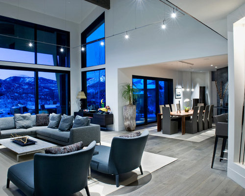 Contemporary Open Concept Gray Floor Living Room Idea In Salt Lake City With White Walls