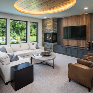 Transitional open concept carpeted, wood ceiling and wood wall living room photo in Minneapolis with white walls, a corner fireplace and a wall-mounted tv