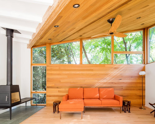 Example Of A Mid Sized Midcentury Modern Open Concept Medium Tone Wood  Floor And Brown Part 76