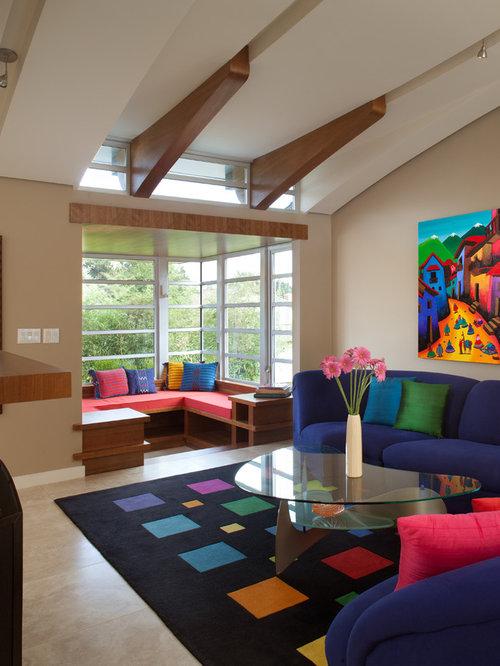 salon avec une biblioth que ou un coin lecture contemporain avec un sol en carrelage de. Black Bedroom Furniture Sets. Home Design Ideas