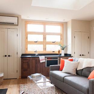 Неиссякаемый источник вдохновения для домашнего уюта: маленькая открытая гостиная комната в стиле модернизм с домашним баром, бежевыми стенами, светлым паркетным полом, стандартным камином, фасадом камина из камня и телевизором на стене