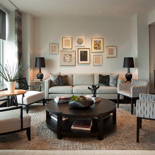 Example of a large transitional living room design in Chicago