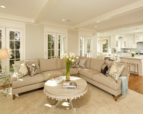 Inspiration For A Timeless Open Concept Living Room Remodel In DC Metro With Beige Walls