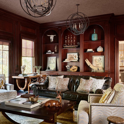 Living room - transitional formal living room idea in Other with brown walls