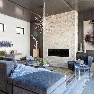 Foto di un soggiorno moderno di medie dimensioni e stile loft con camino lineare Ribbon, cornice del camino in pietra, sala formale, pareti grigie, nessuna TV, pavimento grigio e pavimento in legno massello medio
