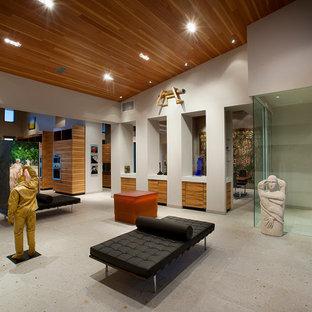 Immagine di un ampio soggiorno minimal aperto con sala formale, pareti bianche, nessun camino e nessuna TV