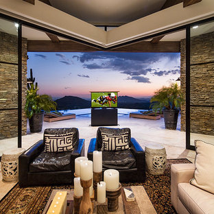 Example of a tuscan living room design in Phoenix