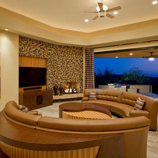 Example of a huge trendy formal and open concept marble floor living room design in Phoenix with beige walls, a corner fireplace and a wall-mounted tv