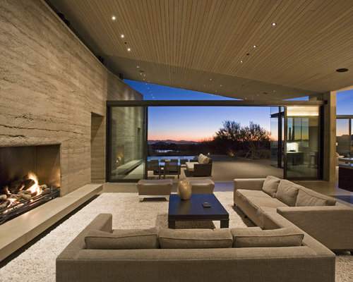 Rammed Earth Fireplace Couch Home Design Ideas, Pictures, Remodel ...