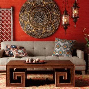 他の地域の中サイズのアジアンスタイルのおしゃれなリビング (赤い壁) の写真