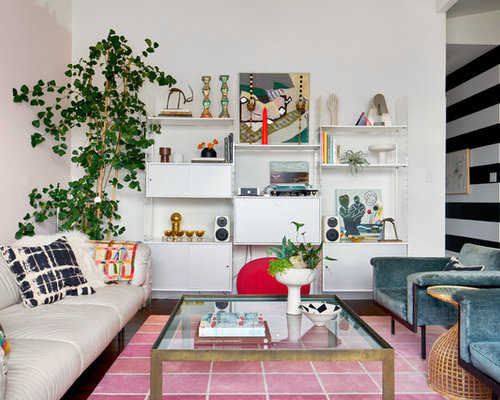 eclectic dark wood floor living room idea in san francisco with white walls - Living Room 1950s