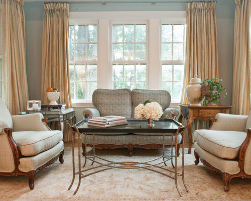 Example Of A Large Classic Formal Enclosed Living Room Design In Boston With Blue Walls