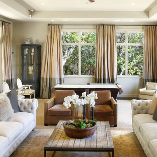 Living room - transitional formal carpeted living room idea in San Francisco with beige walls and no tv