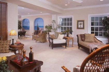 Tropical Living Room by Design Studio -Teri Koss