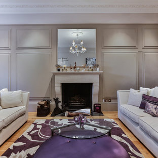 Design ideas for a large classic formal living room in London with light hardwood flooring.