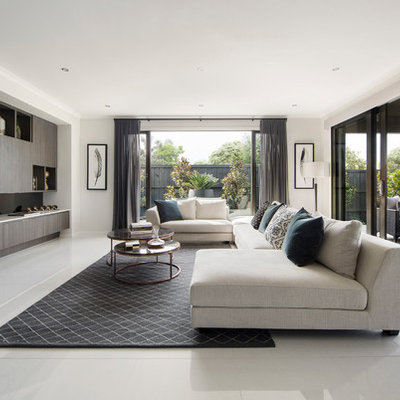 Inspiration for a mid-sized contemporary open concept living room remodel in Melbourne with a wall-mounted tv