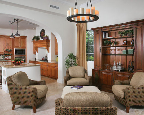 Mediterranean Open Concept Living Room Idea In Miami With White Walls And  No Tv Part 51