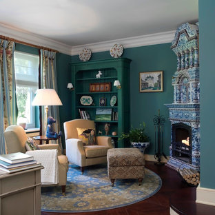 Design ideas for a traditional formal living room in Saint Petersburg with a corner fireplace, a tile fireplace surround and blue walls.