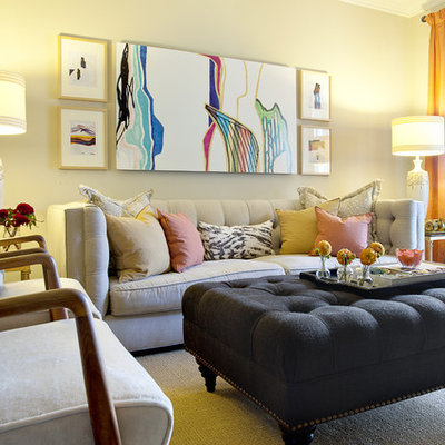 Example of a trendy living room design in Orange County with beige walls