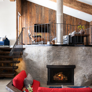 Mountain style open concept concrete floor and gray floor living room photo in Other with a metal fireplace