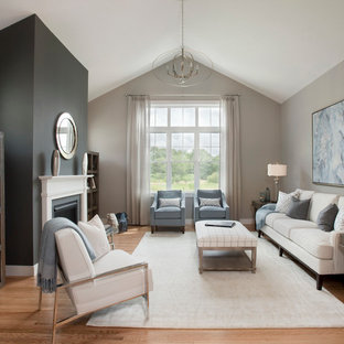 Inspiration for a mid-sized transitional formal and open concept light wood floor living room remodel in Boston with gray walls, a standard fireplace, a plaster fireplace and no tv