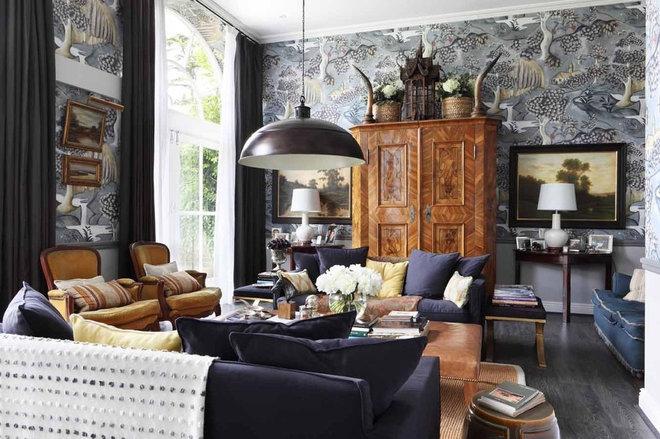 Farmhouse Living Room by VSP Interiors