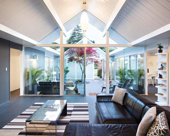 Open Courtyard Converted To Enclosed Atrium Home Design Ideas