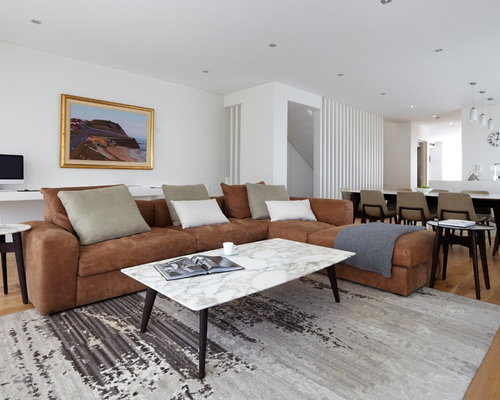 Design Ideas For A Contemporary Formal Living Room In Sydney With White  Walls, Light Hardwood