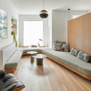 Living Room Mid Sized Scandinavian Formal And Enclosed Light Wood Floor Beige