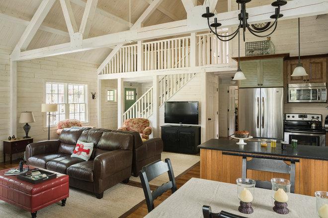Beach Style Living Room by Arborwall Solid Cedar Homes