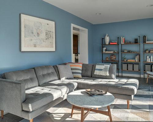 Mid Sized 1950s Slate Floor Living Room Idea In Philadelphia With Blue Walls