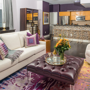 Inspiration for a contemporary open plan living room in Austin with purple walls, bamboo flooring and a wall mounted tv.