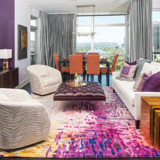Inspiration for a contemporary open concept bamboo floor living room remodel in Austin with purple walls and a wall-mounted tv