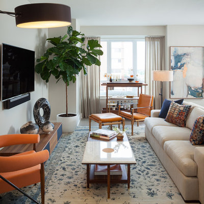 Inspiration for a mid-sized contemporary open concept living room remodel in New York with beige walls, a wall-mounted tv, a bar and no fireplace