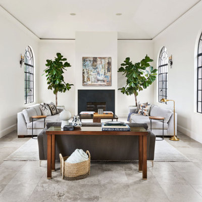 Inspiration for a contemporary formal and enclosed concrete floor and gray floor living room remodel in Portland with white walls, a standard fireplace and no tv