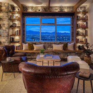 ラスベガスの小さいインダストリアルスタイルのおしゃれなLDK (ライブラリー、白い壁、クッションフロア、吊り下げ式暖炉、木材の暖炉まわり、テレビなし、茶色い床) の写真