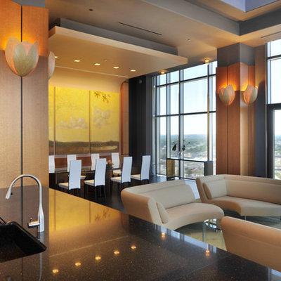 Trendy open concept living room photo in Nashville