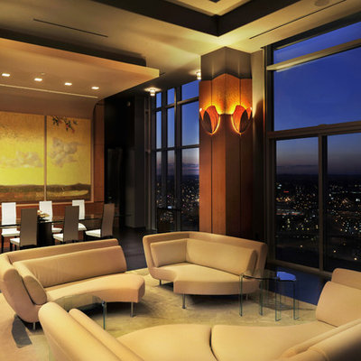Example of a trendy open concept living room design in Nashville