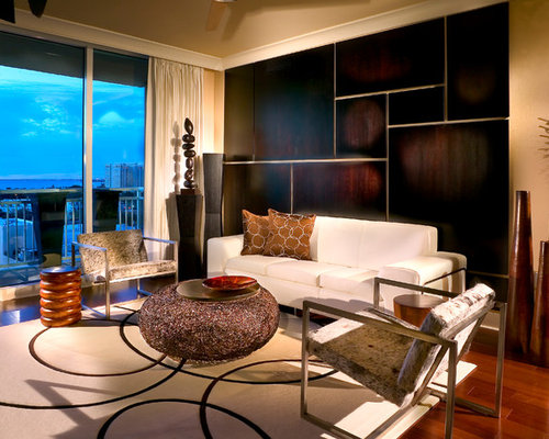 trendy living room photo in miami with beige walls