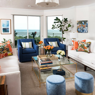 75 Beautiful Beach Style Open Concept Living Room Pictures ...