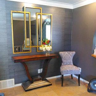 Inspiration för ett mellanstort funkis separat vardagsrum, med grå väggar, klinkergolv i keramik och beiget golv